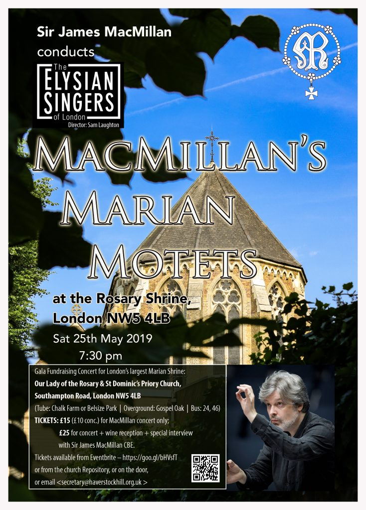 Sir James MacMillan to conducts his Marian Motets at the Rosary Shrine (25 May 2019)